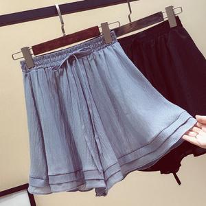 胖妹妹大码女装裙裤夏装雪纺休闲裤宽松百搭显瘦阔腿裤短裤200斤