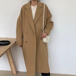韓國高端雙面羊絨大衣女中長款2020秋冬新款簡約寬松氣質毛呢外套