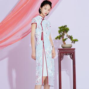 2020夏中國風改良旗袍中長款時尚優雅走秀顯瘦中式雪紡連衣裙復古