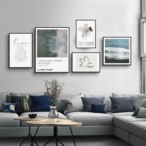 現代簡約客廳裝飾畫文藝輕奢掛畫北歐抽象小眾藝術臥室玄關壁畫