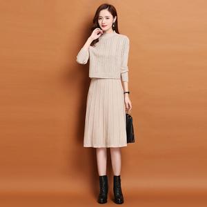 秋冬季新款2019女装毛衣裙中长款毛线套装裙两件套打底针织连衣裙