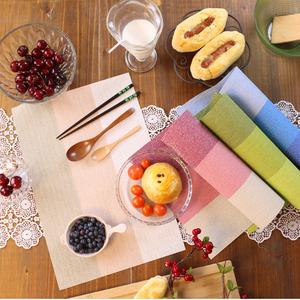 美式地中海北欧田园茱萸粉色渐变色西餐垫牛排餐垫餐桌碗垫餐桌布