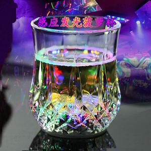 倒水就亮 感应发光杯 七彩发光菠萝杯 LED 闪光杯 酒吧 创意礼品