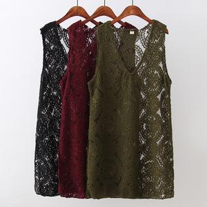 大碼女裝媽媽中老年秋裝蕾絲針織裙背心裙女馬甲胖媽媽裙子200斤