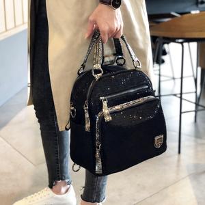 香港潮牌2020新款韓版雙肩包女包手提亮片時尚休閑旅行包百搭背包