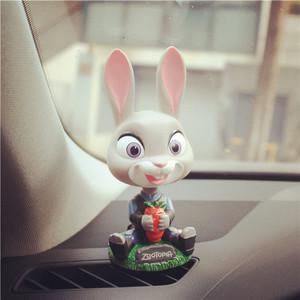 疯狂动物城汽车摆件 车内朱迪尼克公仔车内装饰品 可爱车载用品