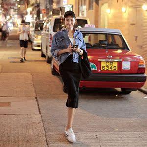 韓國新款春夏港味后開叉包臀半身裙黑色一步裙女顯瘦高腰半身長裙