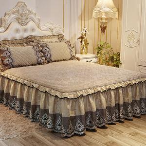 歐式夾棉加厚床裙蕾絲床罩單件1.8米1.5天鵝絨保暖席夢思防滑墊套