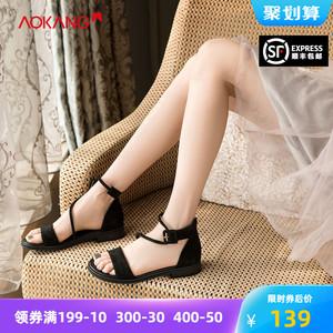 奧康女鞋夏季新款百搭chic鞋子復古女羅馬韓版網紅仙女風涼鞋