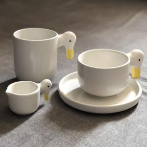 现货丁文琪同款日本职人手作 ceramic japan 鸭子咖啡马克杯汤碗