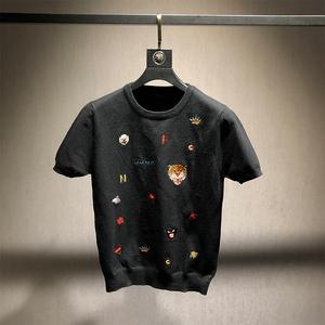 秋季新款男士圓領針織衫短袖個性豹頭刺繡潮流半袖薄款毛衣打底衫