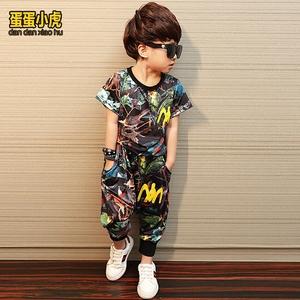 2020新款冰絲套裝童裝男童兒童潮裝中大童洋氣運動帥氣兩件套夏裝