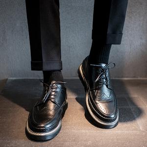 皮鞋男夏季透氣布洛克黑色小皮鞋男韓版潮鞋英倫商務男士休閑皮鞋