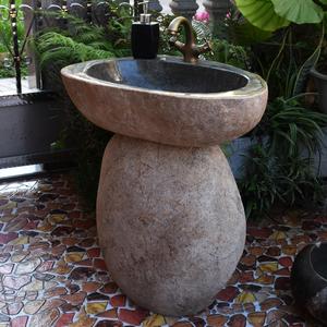 鹅卵石头立柱盆洗脸盆 阳台洗手盆卫生间 户外庭院洗手池一体落地图片