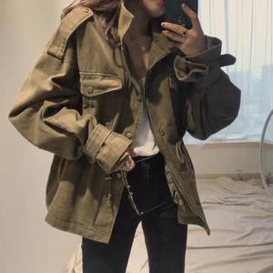 韩国2019秋新款休闲宽松复古收腰军绿色工装外套bf短款百搭风衣女