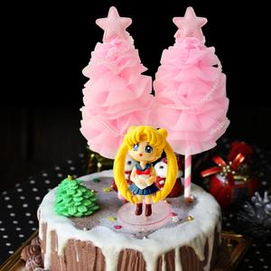 手工制作 生日蛋糕装饰粉嫩圣诞树 粉红少女心星星树装扮插件1支