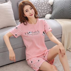 夏季睡衣女纯棉短袖韩版学生两件套装可爱薄款大码闺蜜家居服夏天