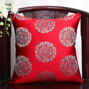 中式紅木沙發抱枕辦公室靠枕套床上腰墊午睡枕座椅靠背中國風靠墊