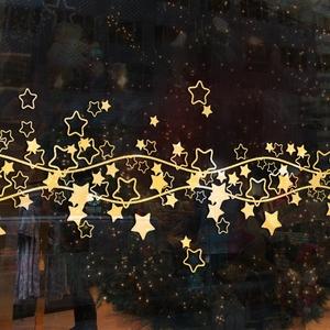 2019商场店铺橱?#23433;?#29827;贴纸个性节日装?#26410;?#24847;场景布置贴画腰线星星