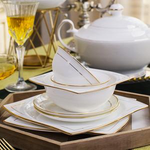 景德鎮陶瓷餐具套裝碗盤子家用骨瓷韓式碗碟歐式組合創意結婚送禮