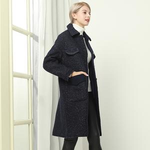 施華布朗毛呢大衣女年新款中長款修身氣質羊毛秋冬外套女流行