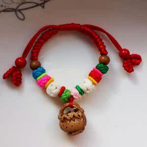 成人宝宝婴儿童小孩辟邪压惊桃篮桃木胡核猪惊骨手工编织红绳手链