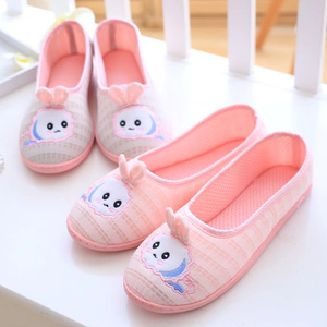 夏季薄款月子鞋 卡通可爱夏天网布透气包跟拖鞋软底防滑孕产妇鞋
