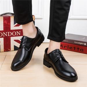 男士皮鞋男鞋黑色春季正裝英倫青年商務尖頭休閑鞋伴郎結婚紗照鞋