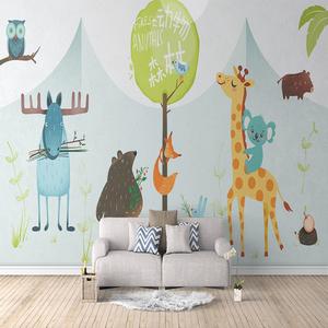 立体卡通森林动物园壁画儿童卧室幼稚园学校走廊教室主题墙纸壁纸
