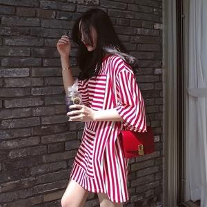 香港潮牌T恤女中长款短袖不规则条纹宽松大码百搭韩版学生打底衫