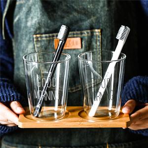 簡約玻璃洗漱口杯家用北歐ins刷牙杯子情侶一對牙缸套裝透明托盤