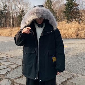 潮牌羽绒棉服男士韩版潮流冬季棉衣学生短款加绒加厚工装外套棉袄