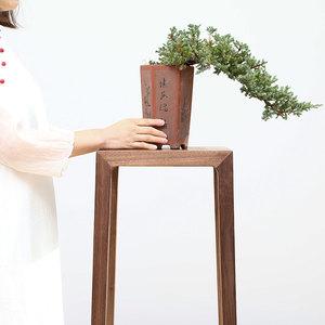 埏埴堂新中式花架现代简约花台设计师原创家具北美黑胡桃实木免漆