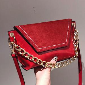 北包包包包女2020新款磨砂復古鏈條手提包撞色時尚單肩斜跨小方包