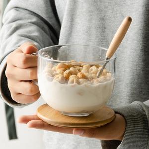 燕麦片早餐杯日式带?#24039;?#29275;奶茶水杯子ins家用大容量耐热玻璃带把