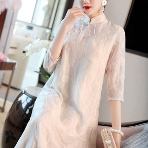 中国风女装改良汉服小香风很仙的连衣裙名媛文艺复古禅意茶服女夏