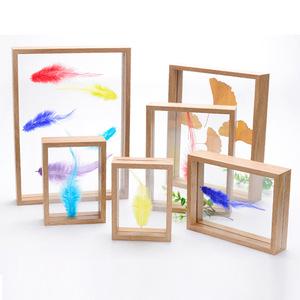 创意双面玻璃植物标本相框 原木色立体画框 装饰相框摆台