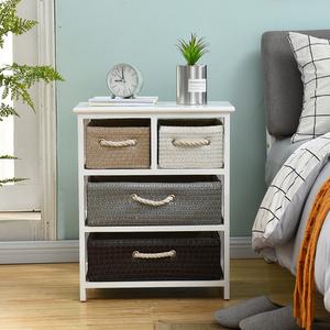 实木藤编收纳柜现代简约抽屉式储物柜自由组合小柜子卧室床头柜子