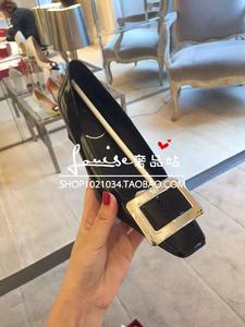 香港代购rv女鞋小辣椒同款金属方扣高跟鞋粗跟漆皮单鞋中跟婚鞋