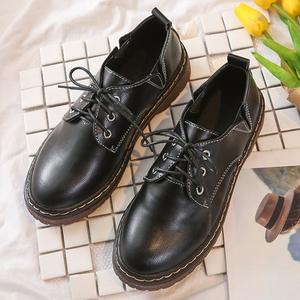 春秋复古小皮鞋女英伦风单鞋布洛克鞋马丁鞋平跟牛津鞋皮面学生鞋
