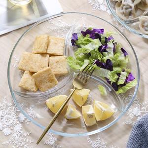 包郵鋼化玻璃三分格餐盤菜盤子早餐水果沙拉盤子分隔甜品零食盤子