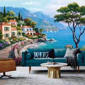 欧式3D定制壁画地中海油画风景墙纸客厅沙发电视背景墙壁纸5d墙布