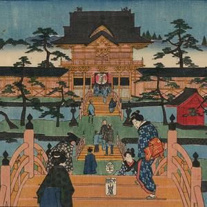 浮世绘名所绘 江户时代山水风景画横板 日式场景绘画参考素材m399