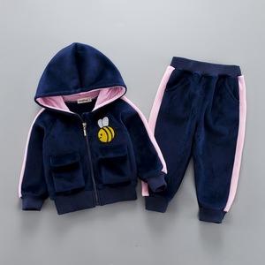 男童套装加绒韩版潮冬