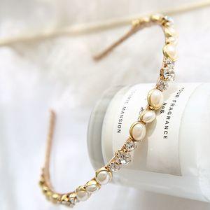 悠家韓國東大門新品發飾氣質珍珠亮鉆發箍手工繞線舒適發卡細頭箍