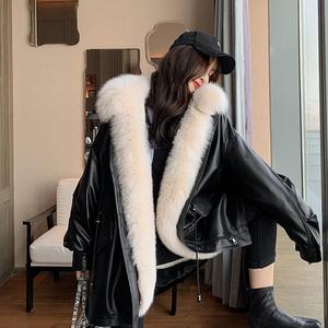 皮草派克服女2019冬款狐貍毛新款可拆卸內膽皮毛一體真皮皮衣外套