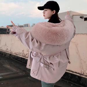 皮草派克服2019冬款女短款可拆卸新款大衣狐狸毛领獭兔毛内胆外套