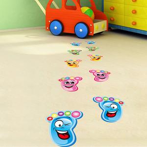 幼兒園教室布置牆面裝飾提示腳丫表情牆貼紙兒童房間地面牆紙自粘