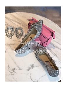 HWH2019新款n21蝴蝶结尖头小跟鞋夏季银色亮片小猫跟美鞋女