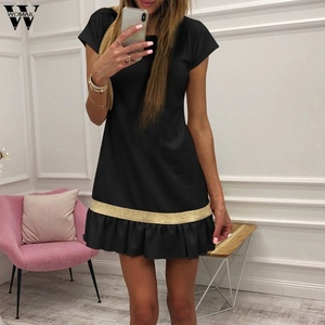 Womail Women Patchwork Fishtail Short Sleeve Party Dress